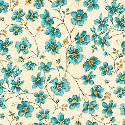 Quiltstof katoen Peacock Pavilion blauwe bloemen 9859-41