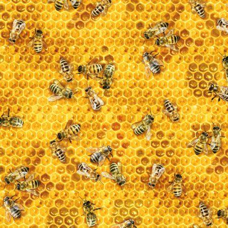 Quiltstof katoen Honingraat en bijen 510