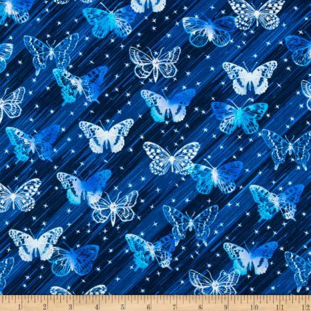 Quiltstof katoen Vlinders op blauw diagonaal gestreepte basis 7965