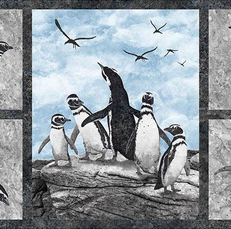 Quiltstof katoen Magdalena Stonehenge Pinguins panel 23760-94