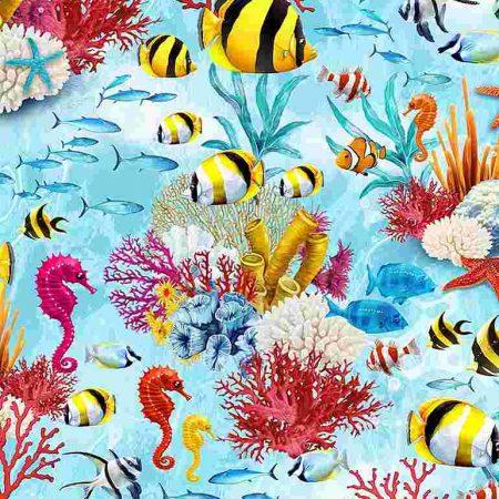 Quiltstof katoen Vissen, zeepaardjes en koraal C7960