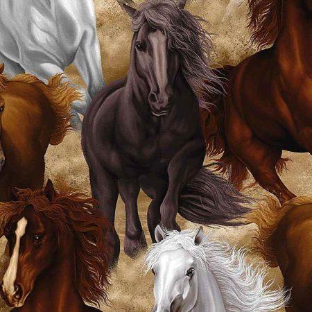 Quiltstof katoen Paarden in galop C7776