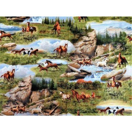 Quiltstof katoen Running Wild Paarden op de prairie 23736