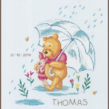 Vervaco Borduurpakket Aida Geboortetegel Disney Winnie the Pooh 172703