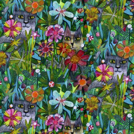 Quiltstof katoen Poezen tussen bloemen 52295D-X