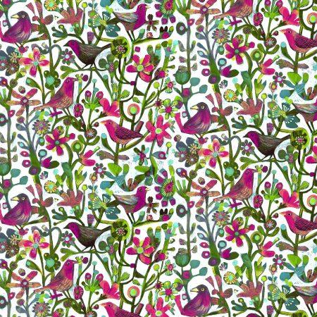 Quiltstof katoen Vogels tussen bloemen 52299D-I