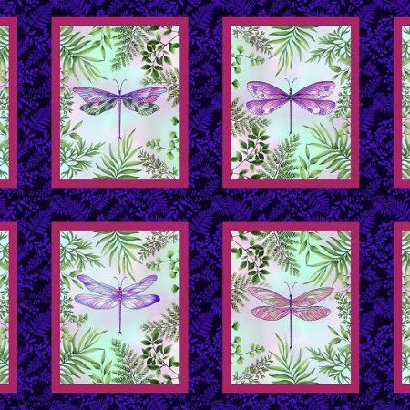 Quiltstof katoen panel Dragonfly Garden 2460-77