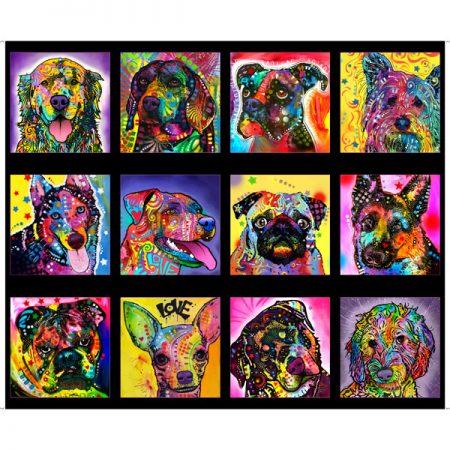 Quiltstof katoen panel Doggie Daze groot 27957