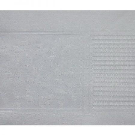 Tafelloper damast met ingeweven aidarand wit 3083 blaadjes