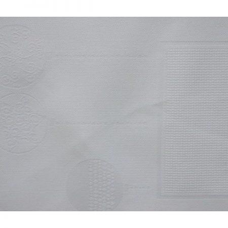 Tafelloper damast met ingeweven aidarand wit 3082