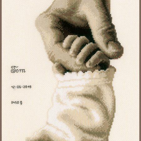 Vervaco Borduurpakket Aida Geboortetegel Baby geluk 173017