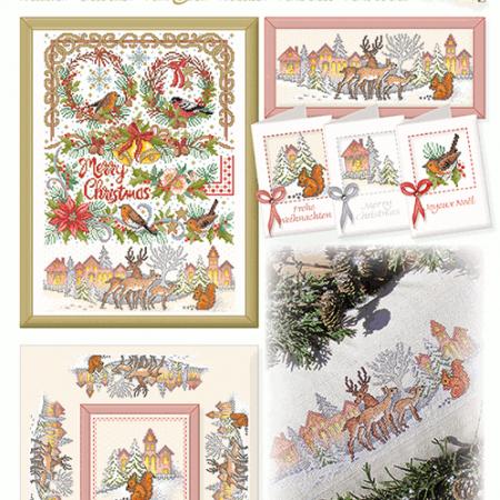 Lindner Borduurpatroon 136 Merry Christmas Vrolijk Kerstfeest