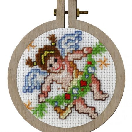 Pako Borduurpakket Aida kersthanger engel 204022