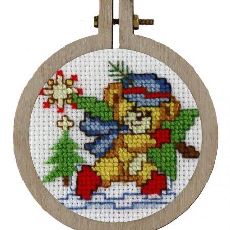 Pako Borduurpakket Aida kersthanger kerstbeer 204025