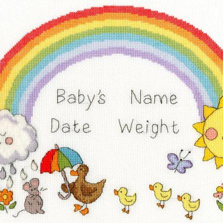 Bothy Threads Borduurpakket Aida Rainbow Baby XNB7